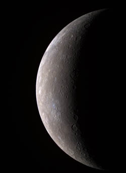 Messenger spacecraft view of Mercury (image from NASA/Johns Hopkins University Applied Physics Laboratory/Carnegie Institution of Washington)