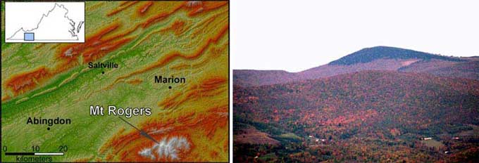 Shaded relief map of the Mt. Rogers area and view of Mt. Rogers from the southwest.