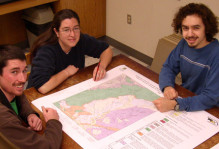 Blue Ridge research team giving one of their geologic maps a critical review.