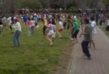 Professors and Students running around on the sunken gardens