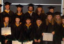Graduating seniors in cap and gown