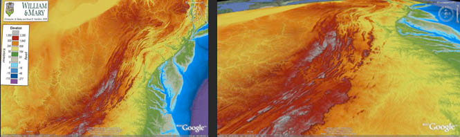 Screen shots of the Google Earth .kmz file of the mid-Atlantic region.