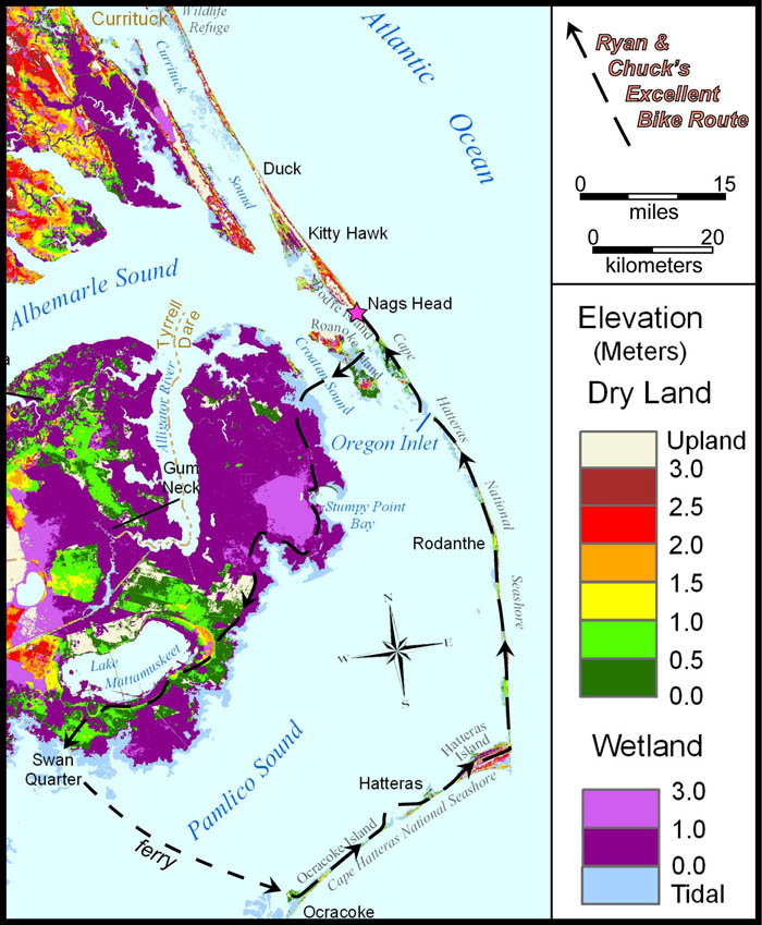 Elevation map of northeastern North Carolina and the Outer Banks with our bike route illustrated. Map modified from Titus and Wang (2008). Select image to view original.
