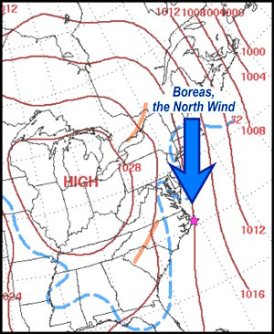 Annotated synoptic weather map of eastern North America for 7 a.m. (EST) March 6, 2010. Dashed blue line is 32˚ F (0˚ C). Reddish-brown lines are isobars, lines of equal atmospheric pressure.Annotated synoptic weather map of eastern North America for 7 a.m. (EST) March 6, 2010. Dashed blue line is 32˚ F (0˚ C). Reddish-brown lines are isobars, lines of equal atmospheric pressure.