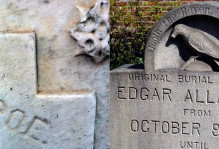 Left- Ornamentation and engravings on the south side of Poe's marble grave show signs of significance chemical weathering (monument erected in 1875). Right- Granite monument marking the original Poe burial site (monument erected in 1913). Note the Raven, perched upon a bust of Pallas, seems little weathered.