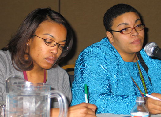 Renee Charity Price and Anne Charity Hudley at the African American Women's Language Conference at the University of Texas-San Antonio