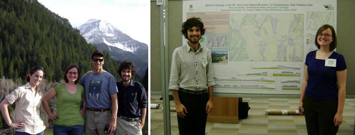"Left- Jessica Ball ('07), JoBeth Carbaugh ('09), Jim Coogan a.k.a-""The Cooganator"" ('81)"", and Trevor Buckley ('09) playing hooky in the Wastach Mountains. Right- Trevor and JoBeth upright and at full attention with one of their research posters discussing the geology of the Fish Lake Plateau."""