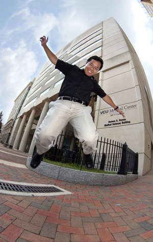 Photo taken on a shoot on the last day of internship. Funny how the first and last story I covered this summer was out of that building behind me. (Photo courtesy of Melissa Gordon, VCU Public Relations)