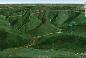 Oblique aerial view (in Google Earth) looking to the southeast illustrating GPS tracklines from the Structural Geology seminar's traverses in the Big Run basin, Shenandoah National Park, Virginia.