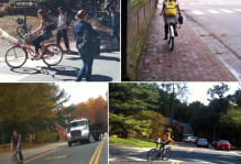 Rogue's gallery of bike riding foolishness on W&M campus (note the absence of a bike helmet).