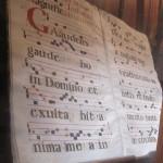 choral book on display in a chapel at Santa Croce
