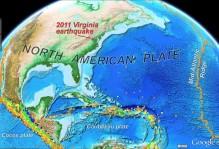 The 2011 Virginia earthquake occurred well within the North American plate. Colored dots represent earthquakes of M>5 and cluster along plate boundaries. Earthquake data from National Earthquake Information Center (1973-2011).
