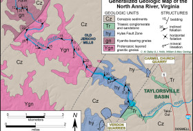 Generalized geologic map of the North Anna River region. Structure data from our canoe trip, geologic contacts from our data and other sources.