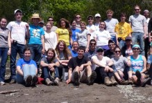 The 2012 Earth Structure & Dynamics class basks in sunshine on an outcrop of the Rockfish meta-conglomerate.