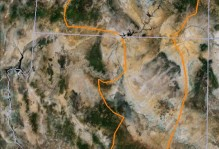 Google Earth image of Arizona and Utah with the Geology 310 route outlined in orange.