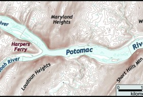 Topographic map of the Potomac River water gap. Note the river cutting through two ridges.