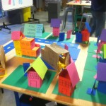The prototype we developed using the resources in the classroom supplies like glue, construction paper, and more to build a model town to demonstrate our shipping delivery and pick up service idea.