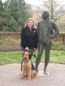 April: In April, my parents drove down from Illinois to visit me in Williamsburg.  Even our dog, Rory, loves Thomas Jefferson!