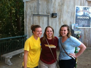 Every year in October, Busch Gardens Williamsburg hosts William and Mary Day.  The school offers discounted tickets and transportation to the park.  I've gone with my freshman hall mates, Anne and Claire, every year!  This year we rode the water ride, Escape from Pompeii, and got totally soaked.