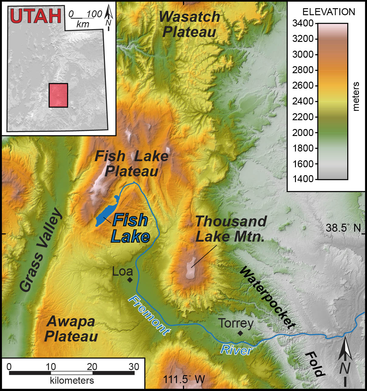 Shaded elevation map of south-central Utah, illustrating the location of Fish Lake and the High Plateaus region.