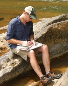 Parker Campbell, gentleman and scholar, at work on the outcrop