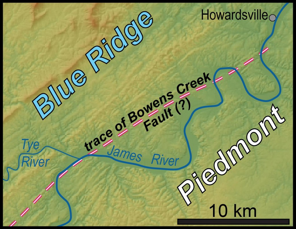 Simplified map of the James River area in central Virginia with pertinent features highlighted.