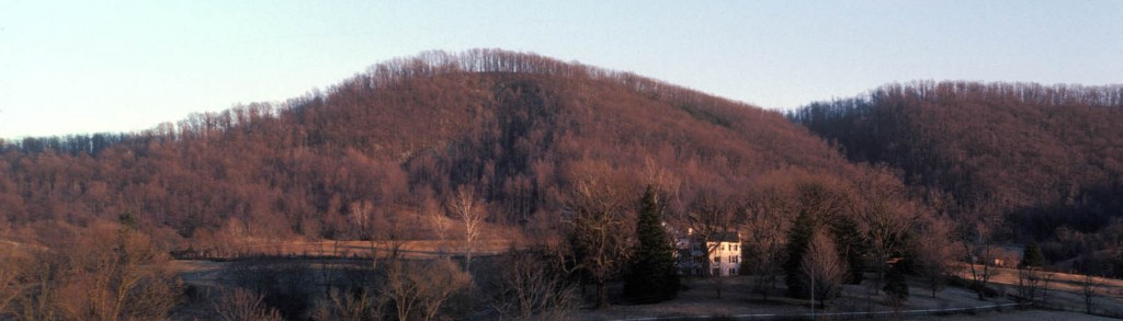 A late afternoon winter view of the Ragged Mountains, headwaters of Ivy Creek, Albemarle County Virginia.