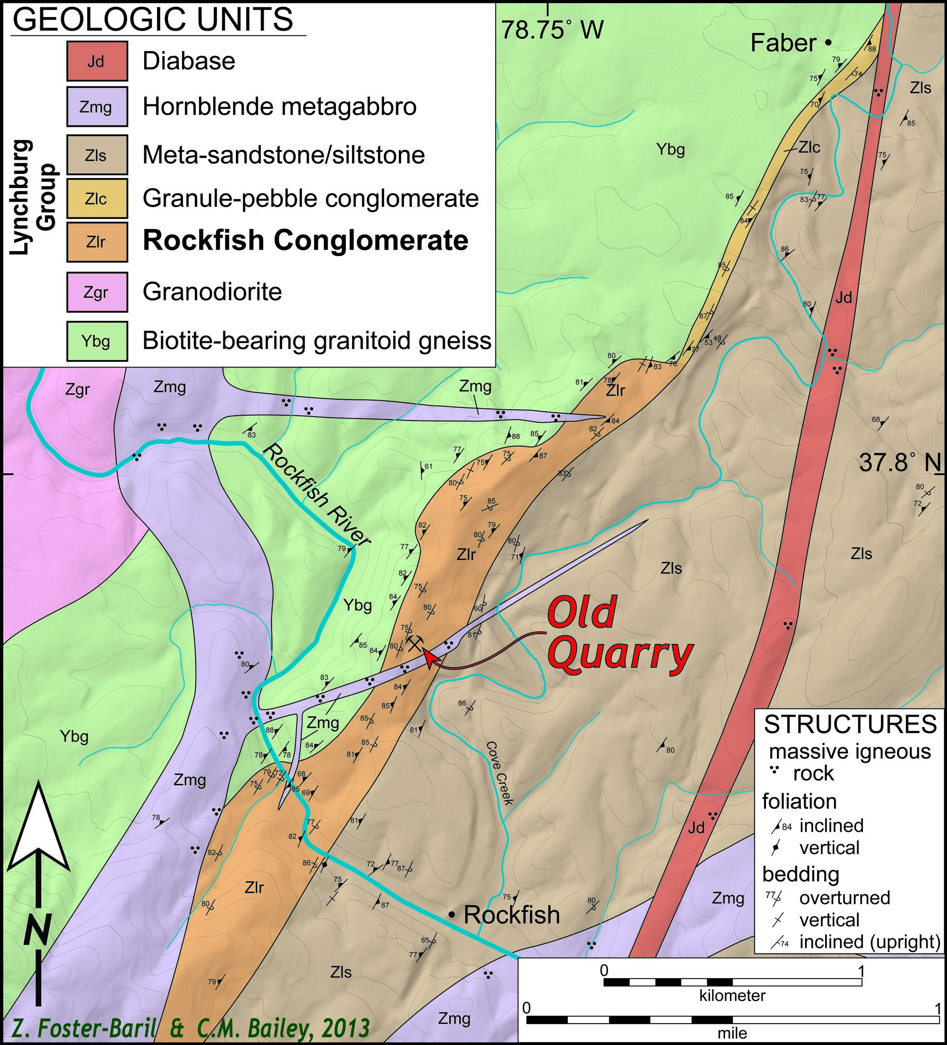 Zach's Geologic Map of the Rockfish area, Virginia. Click for larger view