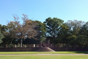 a view of the sunken gardens of the steps towards the wren building