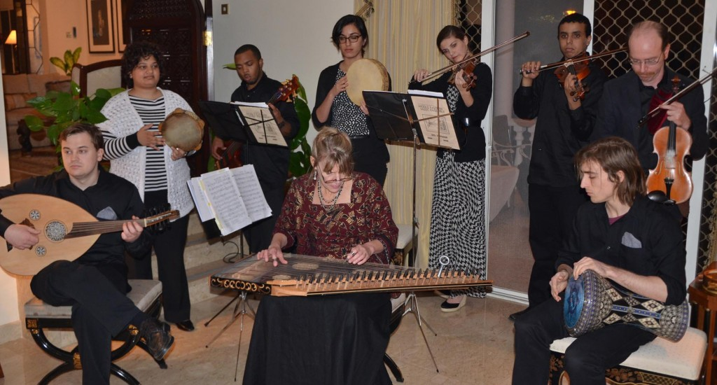 The Ensemble making their music at the U.S. Ambassador's residence.  (Photo courtesy of Megan Porter)