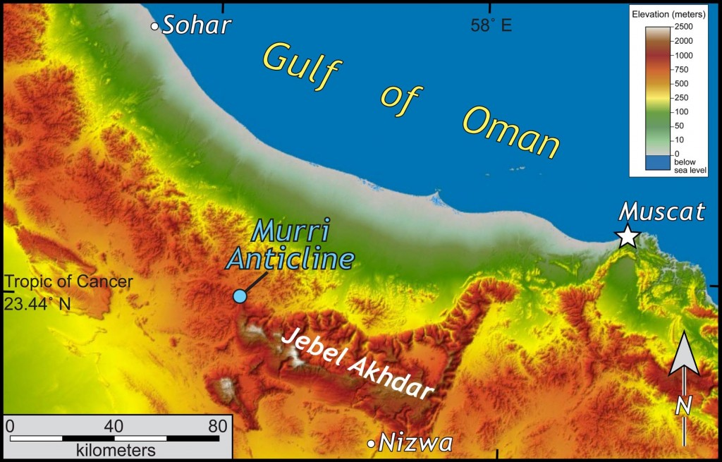Shaded relief map of a part of northern Oman.  30-m data from the Shuttle Radar Topography Mission.