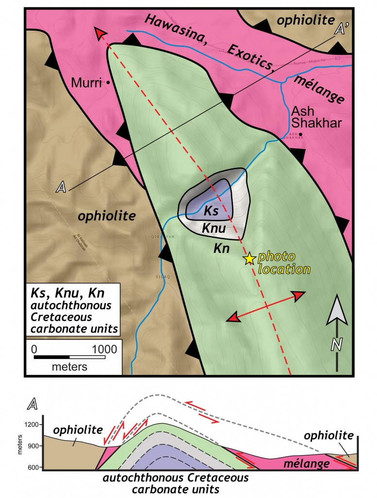 Geologic map and cross section of the Murri anticline and Oman ophiolite.  Ophiolite is juxtaposed against mélange and autochthonous limestones.