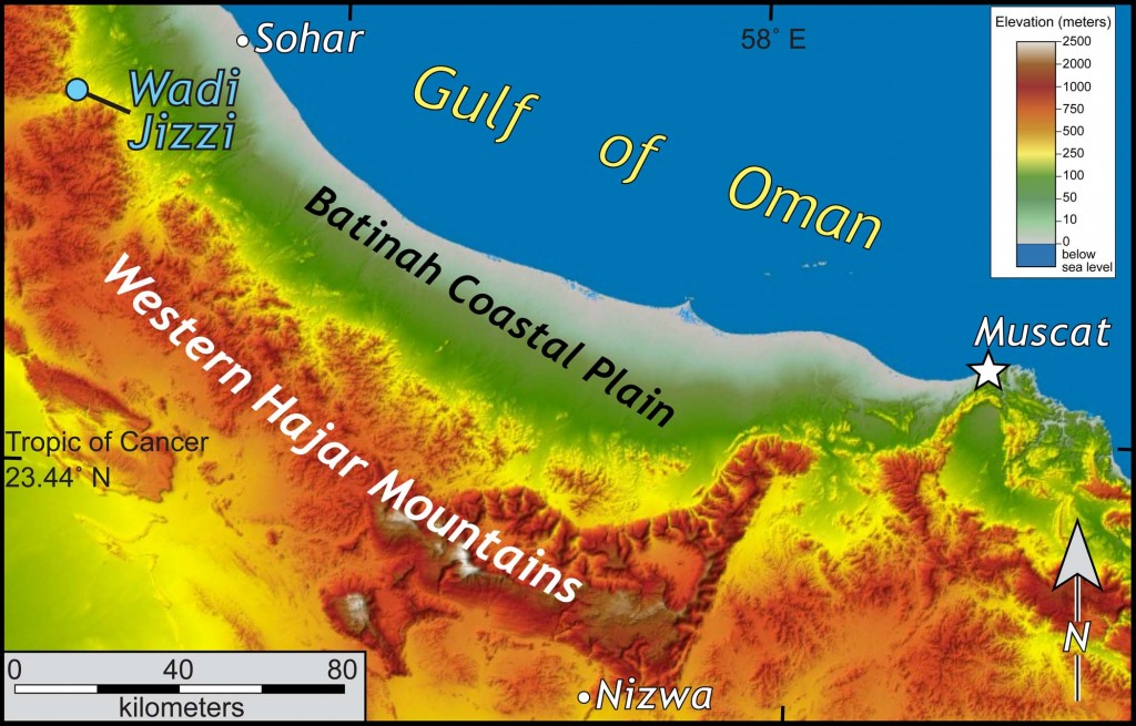 Shaded relief map of a part of northern Oman.  Note the different topography between the Batinah Coastal Plain and the Western ajar Mountains.