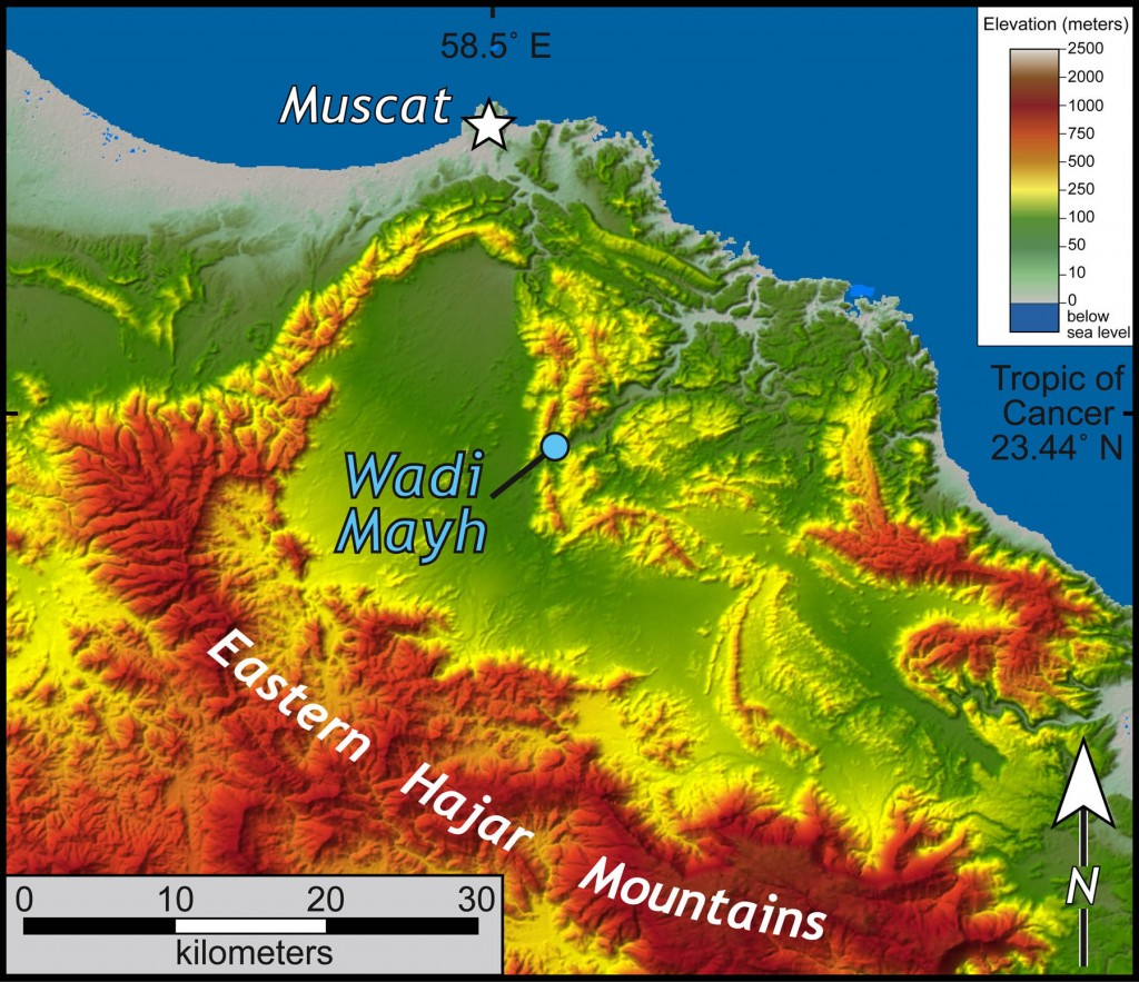 Shaded relief map of the Muscat area, Oman with Wadi Mayh highlighted.