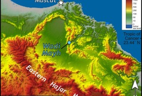 Shaded relief map of the Muscat area, Oman with Wadi Mayh highlighted. 30-m data from the Shuttle Radar Topography Mission.