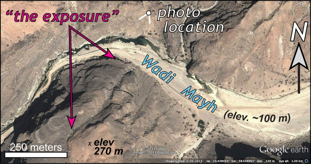 Google Earth image of the Wadi Mayh exposure, note its north-facing aspect.