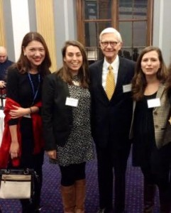 Isabella Liou, Allie Rosenbluth, President Taylor Reveley, Diana Winter at the 7th Annual William & Mary Capitol Hill Reception