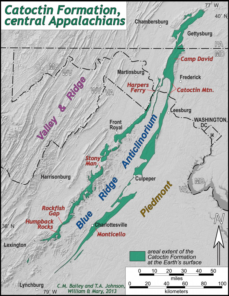 Map illustrating the distribution of the Catoctin Formation in the central Appalachians.