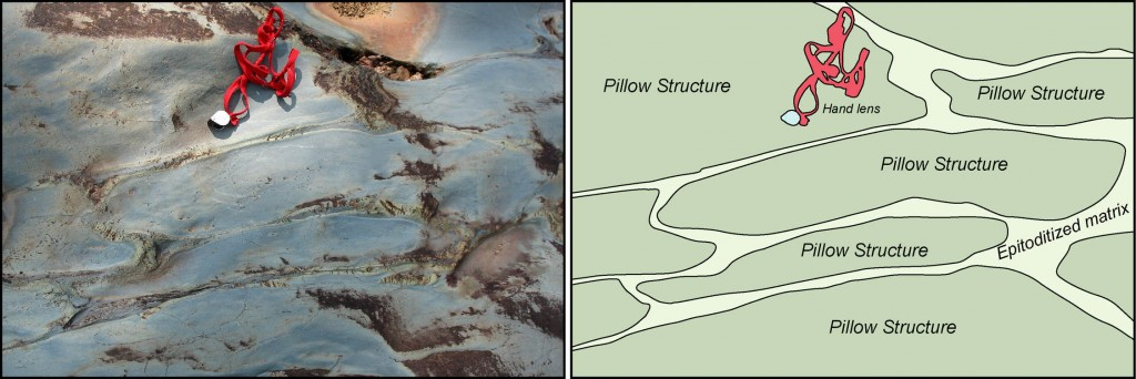 Pillow structures in the Catoctin Formation exposed along the south bank of the Hardware River in southern Albemarle County, VA.