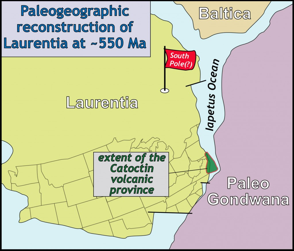Paleogeographic reconstruction of Laurentia and surrounding continents at ~550 Ma. Note Laurentia was in the southern hemisphere (data from numerous sources).