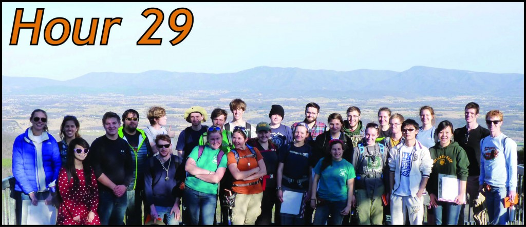 The 2014 Earth Structure & Dynamics class atop Massanutten Mountain (note Shenandoah Valley in mid-ground and Blue Ridge Mountains in the background).