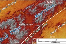 Shaded relief map of the Blue Ridge Mountains and adjacent terrain in the Inner Piedmont and Valley & Ridge provinces of western North Carolina and eastern Tennessee. The Penrose field trip examined rocks across this region.