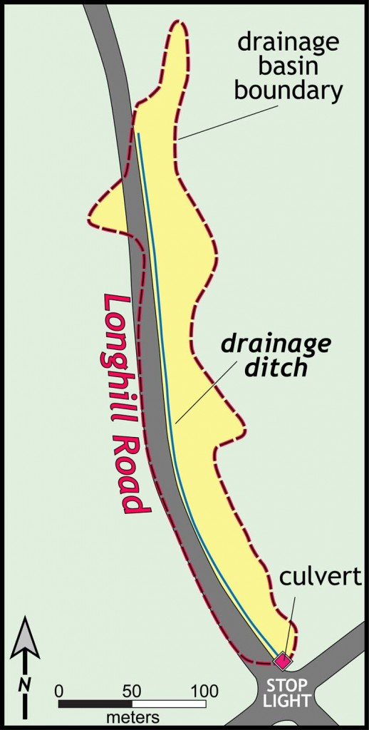 Map of the Longhill Road drainage ditch, james City County, Virginia.