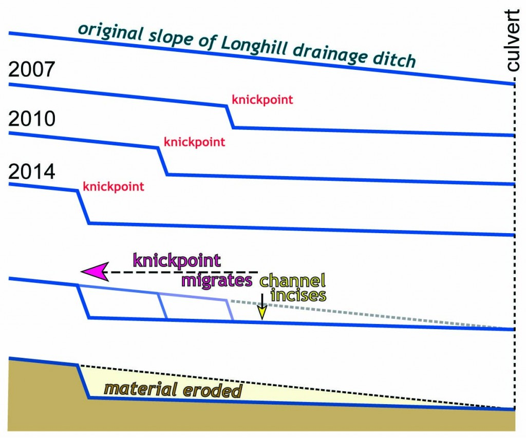 Cross sectional (or longitudinal profile) view of the Longhill drainage ditch.