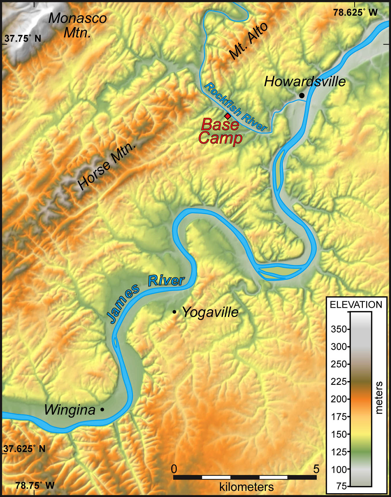 Shaded relief map of the study area near Howardsville, Virginia.  Note the linear elements in the topography to the northwest of the James River and the dendritic drainage to the southeast of the james River.