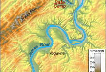 Shaded relief map of the study area near Howardsville, Virginia. Note the linear elements in the topography to the northwest of the James River and the dendritic drainage pattern to the southeast of the James River.
