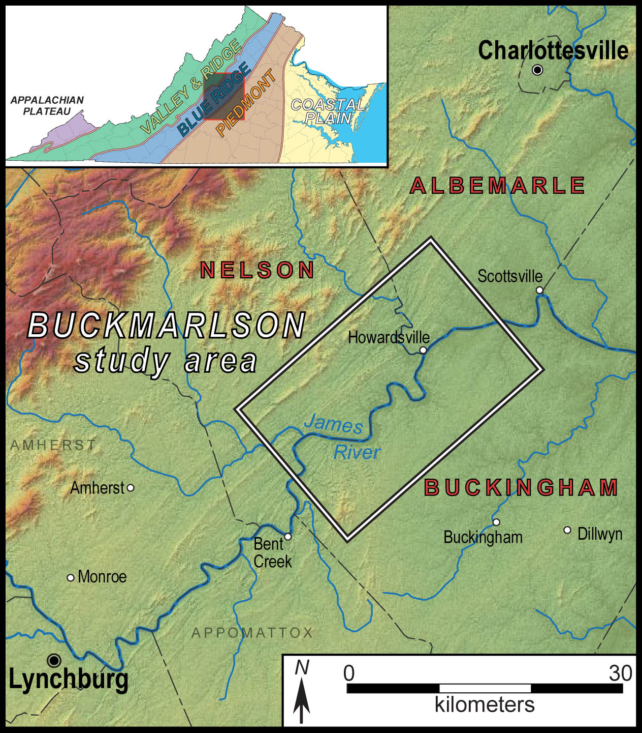 Map illustrating the Buckmarlson region in central Virginia. Our study area lies astride the boundary between the Blue Ridge and Piedmont provinces.