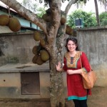 Standing next to a jackfruit tree.
