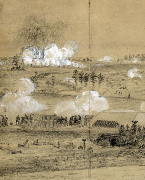 "The explosion that created the Crater.  From a contemporary sketch by Alfred Waud entitled ""Before Petersburg at sunrise, July 30th 1864"". (http://www.loc.gov/pictures/item/2004660459/)"