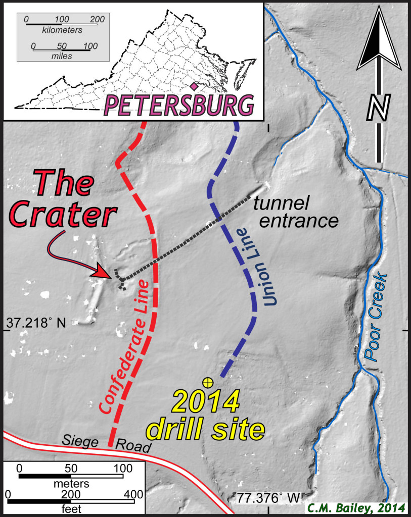 Map of the Crater at Petersburg National Battlefield, Virginia. Thick gray dashed line is the approximate location of the Union tunnel.  The base map is a grayscale shaded relief map from LIDAR data courtesy of the National Park Service.